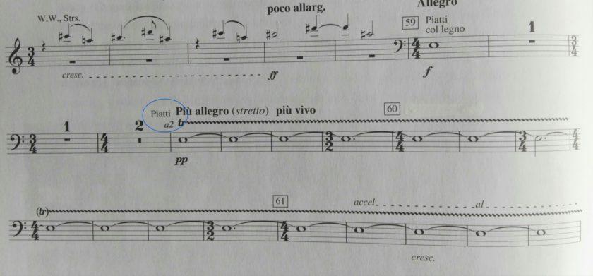 Extracto partitura de platos del Mandarín Maravilloso de Bartok