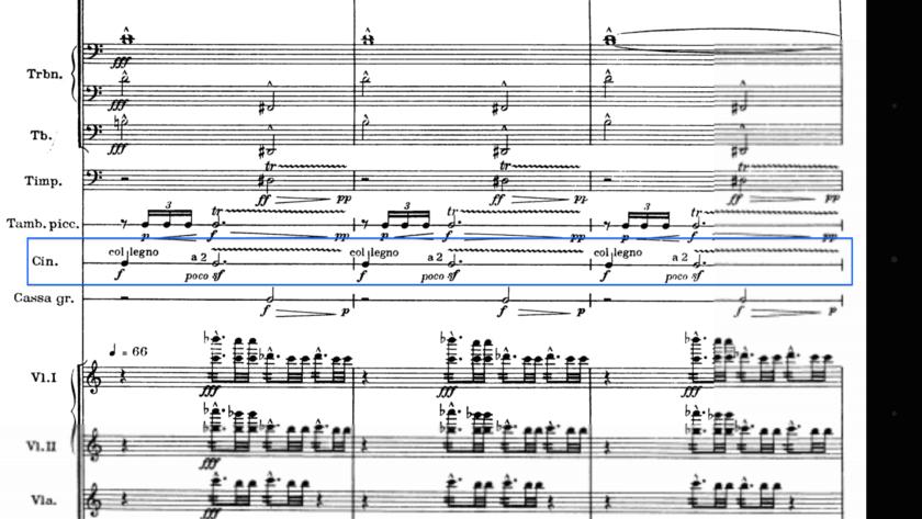 Extracto de la partitura de platos del Mandarín Maravilloso de Bartok