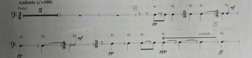 Extracto de partitura de platos del Concierto de Bartok para orquesta