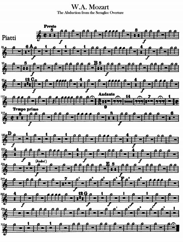 Ejemplo partitura Mozart El Rapto en el Serrallo