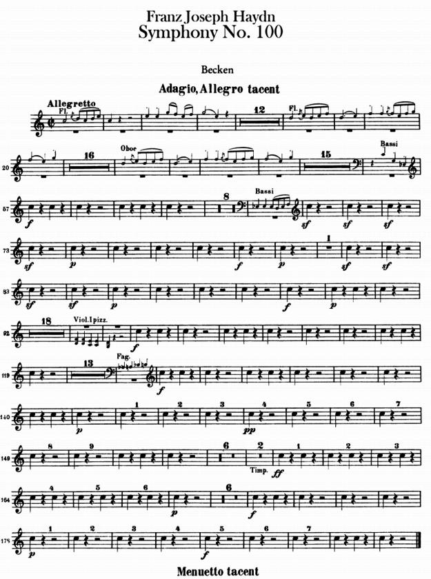 Ejemplo partitura Haydn Sinfonía 100